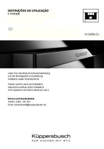BEDIENUNGSANWEISUNG. INStrUctIoNS for USE EKV and installation. installation DE PT DE DE DE DE DE DE DE DE DE