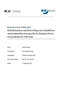 Bedürfnisanalyse und Entwicklung eines inhaltlichen und strukturellen Konzepts für den Relaunch des In- ternetauftritts