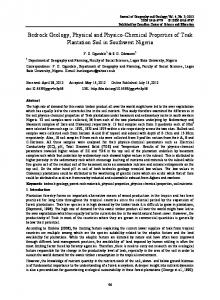 Bedrock Geology, Physical and Physico-Chemical Properties of Teak Plantation Soil in Southwest Nigeria