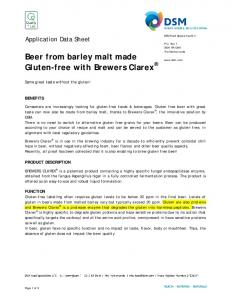 Beer from barley malt made Gluten-free with Brewers Clarex