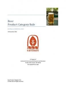 Beer Product Category Rule
