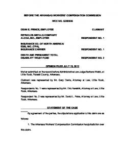 BEFORE THE ARKANSAS WORKERS COMPENSATION COMMISSION WCC NO. G DEAN E. PRINCE, EMPLOYEE