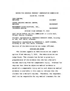 BEFORE THE ARKANSAS WORKERS COMPENSATION COMMISSION CLAIM NO. F OPINION FILED OCTOBER 27, 2003