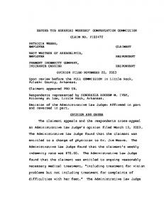 BEFORE THE ARKANSAS WORKERS COMPENSATION COMMISSION CLAIM NO. F OPINION FILED NOVEMBER 20, 2003