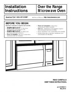 BEFORE YOU BEGIN Read these instructions completely and carefully