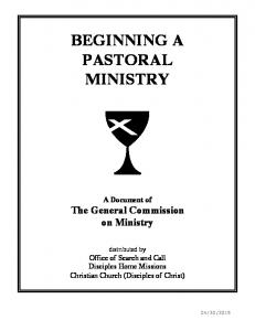 BEGINNING A PASTORAL MINISTRY