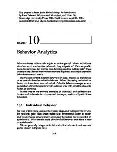 Behavior Analytics Individual Behavior. Chapter 10