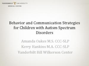 Behavior and Communication Strategies for Children with Autism Spectrum Disorders
