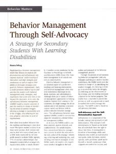 Behavior Management Through Self-Advocacy A Strategy for Secondary Students With Learning Disabilities