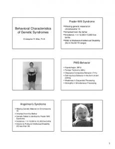 Behavioral Characteristics of Genetic Syndromes