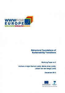 Behavioral Foundations of Sustainability Transitions