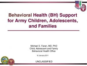 Behavioral Health (BH) Support for Army Children, Adolescents, and Families