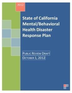 Behavioral Health Disaster Response Plan