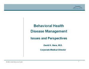 Behavioral Health Disease Management