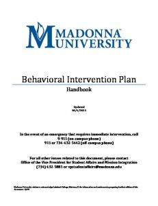 Behavioral Intervention Plan