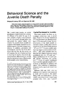 Behavioral Science and the Juvenile Death Penalty