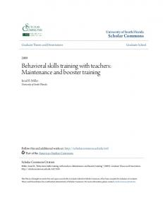 Behavioral skills training with teachers: Maintenance and booster training
