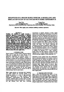 BEHAVIOUR OF A WATER SUPPLY SYSTEM: A MODELLING AND SIMULATION STUDY OF ACTIVITIES WITH SOME EXPERIMENTS
