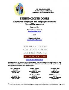 BEHIND CLOSED DOORS Employee Employee and Employee Student Sexual Harassment