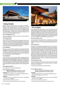 Beijing Delights. Xi'an Delights. Price: $569 per person. Price: $1029 per person. Single supplement: $179 per person