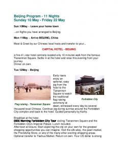 Beijing Program - 11 Nights Sunday 10 May - Friday 22 May