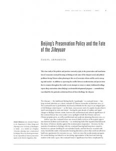 Beijing s Preservation Policy and the Fate of the Siheyuan