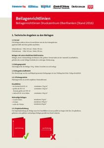 Beilagenrichtlinien Druckzentrum Oberfranken (Stand 2016)