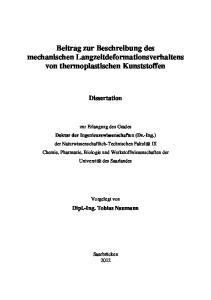 Beitrag zur Beschreibung des mechanischen Langzeitdeformationsverhaltens von thermoplastischen Kunststoffen