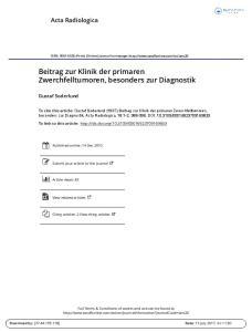 Beitrag zur Klinik der primaren Zwerchfelltumoren, besonders zur Diagnostik