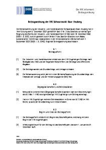 Beitragsordnung der IHK Schwarzwald-Baar-Heuberg