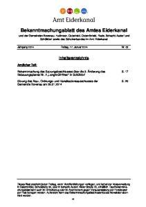Bekanntmachungsblatt des Amtes Eiderkanal