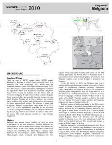 Belgium. CultureGrams. Kingdom of BACKGROUND. World Edition