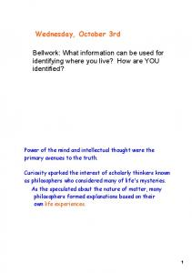 Bellwork: What information can be used for identifying where you live? How are YOU identified?