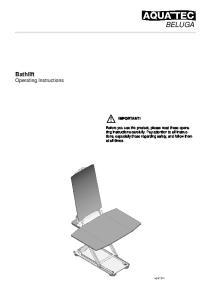 BELUGA. Bathlift Operating Instructions IMPORTANT!