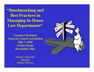 Benchmarking and Best Practices in Managing In-House Law Departments