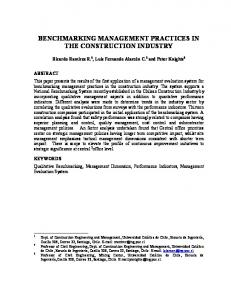 BENCHMARKING MANAGEMENT PRACTICES IN THE CONSTRUCTION INDUSTRY