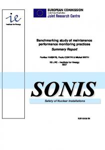 Benchmarking study of maintenance performance monitoring practices Summary Report
