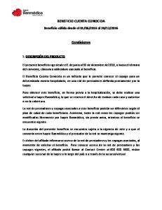 BENEFICIO CUENTA CONOCIDA. Condiciones