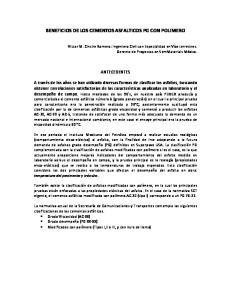BENEFICIOS DE LOS CEMENTOS ASFALTICOS PG CON POLIMERO
