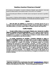 Beneficios e Incentivos Tributarios en Colombia 1