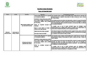 Beneficios Sociales Municipales. Depto. de Desarrollo Social