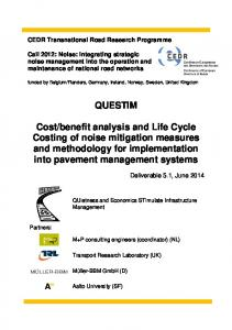 benefit analysis and Life Cycle Costing of noise mitigation measures and methodology for implementation into pavement management systems
