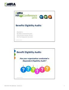 Benefit Eligibility Audits
