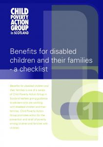 Benefits for disabled children and their families - a checklist