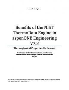 Benefits of the NIST ThermoData Engine in aspenone Engineering V7.3