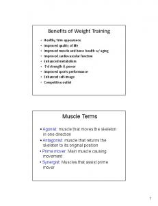 Benefits of Weight Training. Muscle Terms