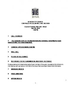 BENICIA CITY COUNCIL CONTINUED REGULAR MEETING AGENDA. Council Chamber 250 East L Street April 04, :00 PM