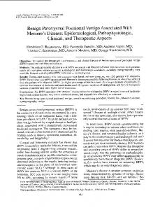 Benign Paroxysmal Positional Vertigo Associated With Meniere's Disease: Epidemiological, Pathophysiologic, Clinical, and Therapeutic Aspects