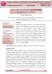 BENIGN PROSTATIC HYPERPLASIA (BPH) AND ITS MANAGEMENT IN AYURVEDA