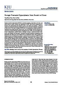 Benign Prostatic Hyperplasia: from Bench to Clinic